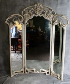 Painted 3-Panel wooden Art Nouveau Dressing Mirror-If only I'd known about this auction. ;(