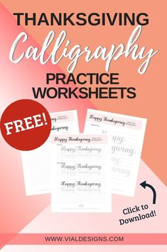 Free Happy Thanksgiving Lettering Practice Sheet by Vial Designs Calligraphy Worksheet, Calligraphy Practice, Calligraphy Handwriting, Penmanship, Caligraphy, Modern Calligraphy Tutorial, Hand Lettering Tutorial, Hand Lettering For Beginners, Calligraphy For Beginners