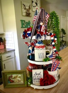 4th July Crafts, Fourth Of July Decor, 4th Of July Decorations, 4th Of July Wreath, July 4th, Spring Decorations, Gnome 4, Girl Gnome, Patriotic Party