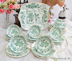 Tea set vintage floral tea set Wedgwood by VintageTeaTimeByNiw