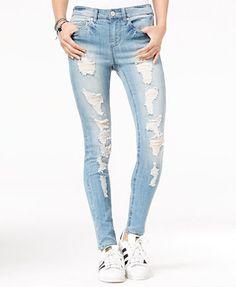 Indigo Rein Juniors' Ripped Medium Blue Wash Skinny Jeans   macys.com
