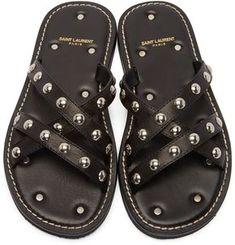 Saint Laurent for Men Collection Black Sandals, Leather Sandals, Quirky Shoes, Saint Laurent, Sandals Outfit, Clearance Shoes, Mens Fashion Shoes, Leather Men, Studded Leather