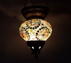 Moroccan lantern mosaic hanging lamp glass chandelier light lampen candle e 007  #Handmade #Moroccan