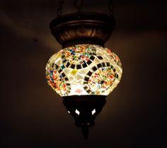 mosaic hanging lamp glass chandelier light lampen handmade candle art lampen 007 #Handmade #Moroccan