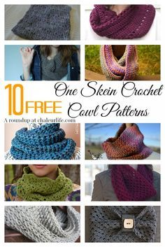 10 Free One Skein Crochet Cowl Patterns Perfect for a last minute Christmas gift idea!
