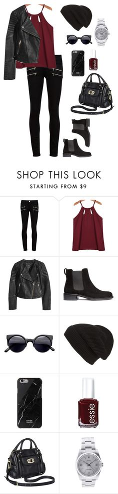 """""""Do you call yourself a f*cking hurricane like me? Pointing fingers cause you'll never take the blame like me."""" by the-well-acquainted ❤ liked on Polyvore featuring Paige Denim, H&M, Phase 3, Native Union, Essie, Merona, Rolex and hollylaurensrunway"""