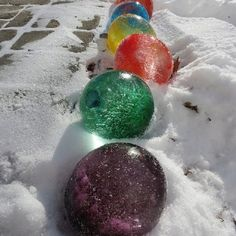 Fill balloons with water and some food coloring, put in freezer or outside when it's super cold, take balloon off after it fully freezes and get marble looking ice. Neat project for the kids.
