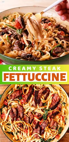 Creamy Steak Fettuccine - The ingredients and how to make it please visit the website Cheesy Pasta Recipes, Pasta Dinner Recipes, Pasta Dinners, Healthy Pasta Recipes, Healthy Pastas, Pasta Salad Recipes, Sausage Recipes, Lunch Recipes, Simple Recipes