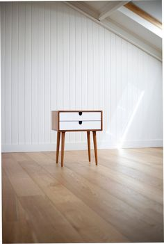 2014 Collection Mid-Century Scandinavian Side Table / Nightstand - Frame and legs made of solid oak in honey ,and drawers lacquered in white...
