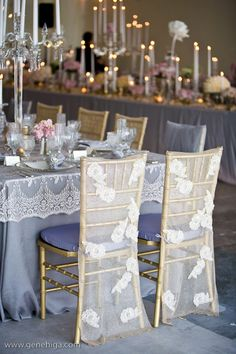 Wildflower Linen Carolyn - Gene Higa Photography ~ Wildflower Linen dressed the tables in a delicate lavender tone using Carolyn lace caps & a variety of lace chair covers. Florals in light pastel colors & soft candlelight were created by The Mille Fiore while menu & paper goods from Cherish Paperie were the perfect touch to round out the decor.