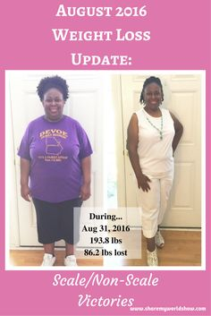 """August 2016 - Weight Loss Update: Scale/Non-Scale Victories"" - I've completed another month on my journey of transformation!  16 months later and I'm still moving forward!  Every day is another opportunity for change.  If I want to be completely transformed, I must be willing to go through the process; no matter how long it takes.  I can't shortcut the process. #health #weightloss #weightlossjourney #faith"
