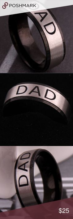 """🔥Dad Ring🔥 An perfect ring for dad's! This is stainless steel with """"Love YouDad"""" engraved inside. Stainless steel in the middle with black edges all around. Accessories Jewelry"""