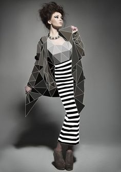 Fashion with Cubic Forms. This was pulse of the fashion industry, a clear need for acting differently. By Elif Yaman, via Behance Fashion Collage, Fashion Art, Fashion Design, Graphic Design Inspiration, Style Inspiration, Geometric Fashion, Photocollage, Draw On Photos, Photo Illustration