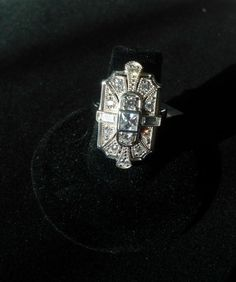 Statement Ring .925 Sterling Silver CZ Art Deco 1.55 carat CZ 3mm Band Gorgeous  #BijouxMore #Statement