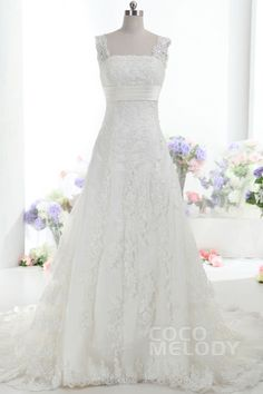 Fabulous+A-Line+Straps+Natural+Train+Lace+Ivory+Sleeveless+Lace+Up-Corset+Wedding+Dress+with+Appliques+CWLT1402B