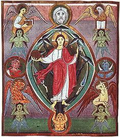 Christ the Saviour in the Tree of Life. Page from Gospel Book, early 11th century, Staatsbibliothek, Munich.