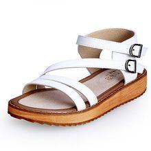 Tamaño grande 34-45 Zapatos de Mujer de Cuero Genuino Zapatos de Plataforma Zapatos de Las Mujeres Causales Sanglaide 2.8 CM de Tacón Alto Sandalias de gladiador de Las Mujeres(China (Mainland))