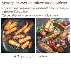 Kipreepjes uit de Airfryer. 200 graden, 4 minuten. AK Actifry, Air Fryer Recipes, Recipies, Meals, Vegetables, Food, Electric Griddle Pan, Deep Fryer, Salad