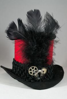 0b27b4c0743 Black and Red Mini Fabric Mini Hat  Handmade  Steampunk Hat  Top Hat  Red  Hat  Adult Mini Hat  Costume Hat  Halloween Hat  Party Hat
