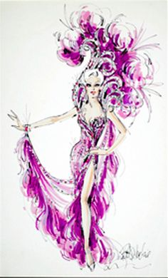 Bob Mackie Showgirl costume sketch for Mitzi Gaynor from igavelauctions.com Fashion Illustration Sketches, Fashion Design Sketches, Illustrations, Dance Fashion, Fashion Art, Katy Perry Dress, Ann Margret Photos, Mitzi Gaynor, Showgirl Costume