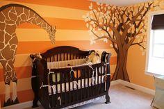 giraffe baby room mural with tree orange