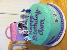 Doc McStuffins birthday cake- Angela these are print outs from the website. I have the bag and dr tools printed. Doc Mcstuffins Birthday Cake, Doc Mcstuffins Toys, 3rd Birthday Parties, Birthday Cakes, 2nd Birthday, Birthday Ideas, Curious George Stuffed Animal, Party Cakes, Cake Ideas
