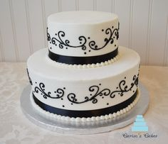 black on white wedding cakes | rounds white cake with buttercream icing two half sheet cakes ...