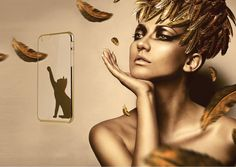'She stretched out her velvet paw and appeared to kiss.'  Gold Kitty for iPhone 6 & iPhone 6 Plus.  Exclusively at CASZO.com