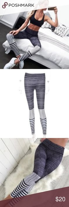 Yoga Leggings Leg Warmer Design Fashion Striped Listed as Victoria's Secret for exposure. Great quality for a great price!  Product Type: Leggings  Age Group: Adults  Brand Name: oem  Material: Spandex / Polyester  Technics: Seamless  Feature: Anti-Bacterial  Feature: Breathable  Feature: Snagging Resistance  Supply Type: In-Stock  Items Model Number: Printed Leggings  Waist: 25 inches Hip: 28 inches Length: 35 inches PINK Victoria's Secret Pants Leggings