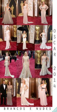 Os tons de nude o o branco reinaram absolutos no Oscar. Vestidos dessa cor são delicados, clássicos, elegantes, e com um ar glamouroso dos anos 20.