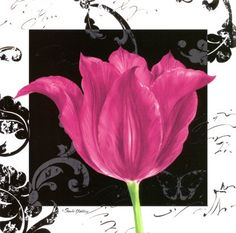 Damask Tulip IV Canvas Art - Pamela Gladding x Art Floral, Floral Artwork, Home And Deco, Prints For Sale, Purple Flowers, Van Gogh, Printable Wall Art, Damask, Flower Art