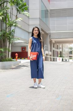 The trifecta of primary colours can be tricky to pull off, but Gladys shows us how to blend the hues into a classic mix. Pull Off, Primary Colors, Midi Skirt, Colours, Classic, Skirts, Tops, Fashion, Derby