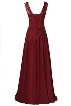Rjer Women's Strapless Floor length Appliques Bridesmaid Formal Chiffon Evening Gowns Burgundy Size 4