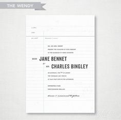The 'Wendy' Wedding Invitation by delightink on Etsy