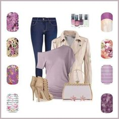 Spring jamberry  line - plum, purple, tips, stripes, flowers http://kristinwilson.jamberrynails.net/