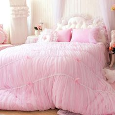 Princess Shabby Chic Floral Pink Lace Duvet Comforter Cover Set Queen Full Twin   Home & Garden, Bedding, Duvet Covers & Sets   eBay!