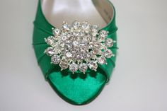 Emerald Green Shoes - Wedding - Bridal - Heels - Crystals - Dyeable Shoes - Over 100 Color Choices - Irish Wedding - Choose Your Heel Height...
