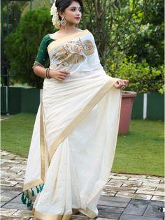 handloom saree with krishna embroidery 3