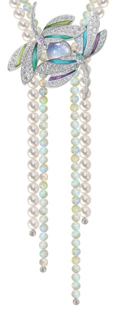 Mathon Paris 'Ephémère' necklace / Brooch in White gold with Diamonds, Plique-à-jour, Purple sapphires, Paraïba tourmaline, Opals and Pearls