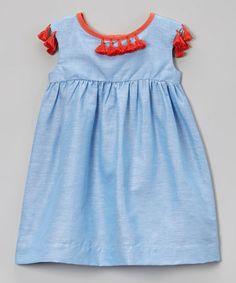 Ocean Blue & Orange Linen-Blend Dress
