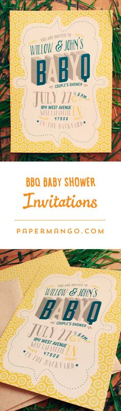 IT'S A BABY-CUE! I love the lemon pattern in the background. $1.49+ from Paper Mango #bbq #baby #shower #coed #invitations