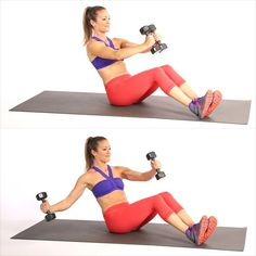 Circuit Three: V-Sit With Single Arm Chest Fly. In this variation the abs work extra to maintain stability as you pull the dumbbell away from your center. Abs Workout Video, Flat Belly Workout, Bikini Workout, Workout Circuit, Lower Ab Workouts, Chest Workouts, Ab Exercises, Chest Exercises, Ab Moves