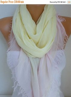 Yellow & Pink Cotton Scarf Soft Shawl Spring Summer by fatwoman