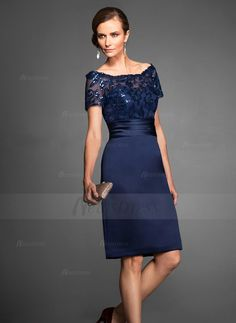 Sheath/Column Off-the-Shoulder Knee-Length Appliques Lace Sequins Satin Zipper Up Covered Button Short Sleeves Dark Navy Spring Summer Fall General Mother of the Bride Dress