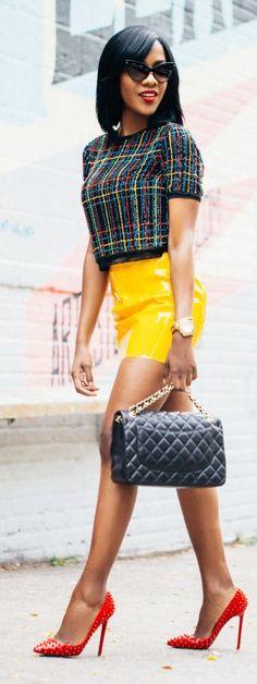 Wet Yellow Skirt Chic Style