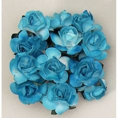 Mini Paper Rose Bud Flowers with Stem in Turquoise - PACK OF 144 - 0.75in. Wide x 5/8in. Tall