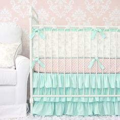 Caden Lane Baby Bedding - Lovely Damask Baby Bedding | Vintage Gray