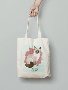 Check out this item in my Etsy shop https://www.etsy.com/uk/listing/270669786/cat-bag-grumpy-cat-says-no-funny-tote