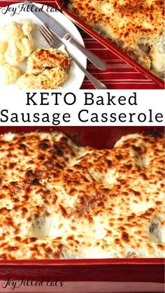 Baked Sausage with Creamy Basil Sauce - Low Carb Keto Gluten-Free 5 Ingredients THM S - If you need an easy dinner idea my Creamy Basil Baked Sausage should be it. With only 5 ingredients amp; a 5 minute prep time it is great for busy nights. Keto Sausage Recipe, Sausage Recipes For Dinner, Baked Sausage, Keto Recipes Dinner Easy, Keto Foods, Ground Italian Sausage Recipes, Ground Sausage, Basil Sauce, Low Carb Casseroles