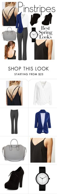 """""""#23 - pinstripes"""" by caarmelaa ❤ liked on Polyvore featuring Topshop, By Malene Birger, Givenchy, H&M, River Island, New Look, Boohoo and pinstripes"""